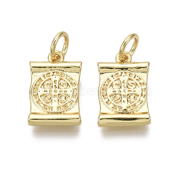 Brass Charms, with Jump Ring, Nickel Free, Rectangle with Saint Benedict, with Word CssmlNdsmd, Real 18K Gold Plated, 14x9x2.5mm, Hole: 3mm(X-KK-R133-005-03G-NF)