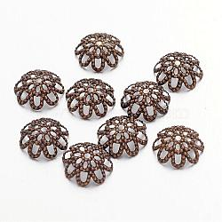 Antique Bronze Iron Flower Bead Caps, Nickel Free, 9x4mm, Hole: 1mm; about 100pcs/10g(X-IFIN-ZX1173-AB-NF)