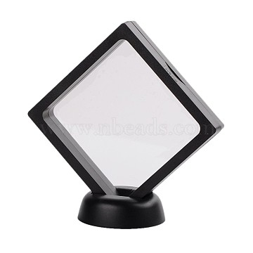 Plastic Frame Stands, with Transparent Membrane, For Ring, Pendant, Bracelet Jewelry Display, Rhombus, Black, Frame: 11x11cm; Bottom Round Base: 5.5x1.7cm(ODIS-N010-03A)