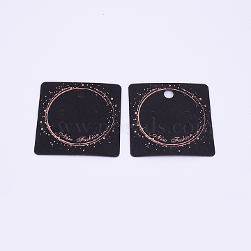 Kraft Paper Earring Display Cards, Stud Earring Card Holder, Square, with Word New Fashion, Black, 5x5x0.05cm, Hole: 1.5mm(CDIS-WH0014-01)