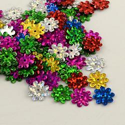 Accessoires ornement de perles de paillette fleurs en plastique, perles de paillettes, couleur mélangée, 12~14x1 mm, trou: 1 mm(X-PVC-Q034-M)