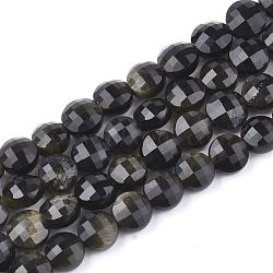 """Chapelets de perles en obsidienne dorée naturelle, facette, plat rond, 6x4~4.5mm, trou: 0.7mm; environ 70 pcs/chapelet, 15.3""""(G-T108-04)"""