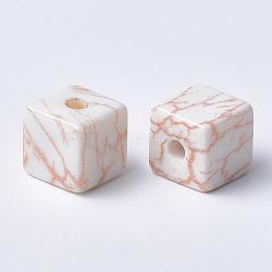 Perles acryliques imprimées, cube, peachpuff, 15x15x15mm, Trou: 3.5mm(MACR-T024-62B)