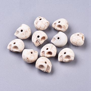 13mm Skull Howlite Beads