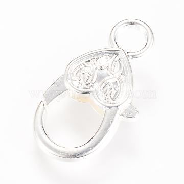 Alloy Lobster Claw Clasps, Silver Color Plated, 27x14x6mm, Hole: 4mm(X-KK-S304-02)