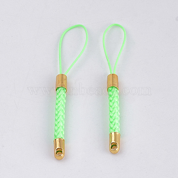 Mobile Phone Straps for Dangling Charms Pendants, DIY Cell Phone Braided Nylon Cord Loop, with Golden Brass Cord Ends, Lime, 55~57x4mm(MOBA-T001-01E)