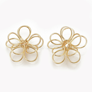 Real Gold Plated Flower Brass Beads