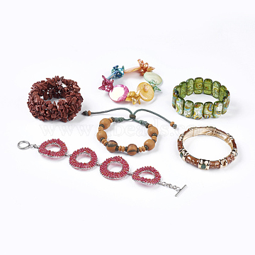 (Defective Closeout Sale), Fashion Bracelets, with Resin, Shell and Gemstone Beads, Mixed Shapes, Mixed Color, 2inches(5.2cm)~2-1/4inches(5.8cm)(BJEW-XCP0003-01)