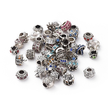 Glass Rhinestone European Beads, Large Hole Beads, Mixed Style, Mixed Color, 9~16x6~11mm, Hole: 5~6mm(CPDL-MSMC001-M2)