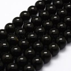 """Perles en obsidienne naturelle, rond, 10mm, trou: 1.2mm; environ 42 pcs/chapelet, 16""""(X-G-F364-08-10mm)"""