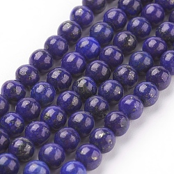 Natural Lapis Lazuli Beads Strands, Dyed, Round, Blue, 4mm, Hole: 1mm; about 44pcs/strand, 7.6inches