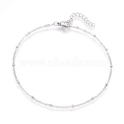 304 Stainless Steel Cable Chain Anklets, Stainless Steel Color, 9-1/4inches(23.5cm); 1.7mm(AJEW-P069-01P)