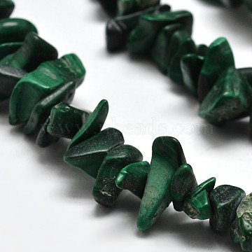 Chip Natural Malachite Beads Strands, 5~8x5~8mm, Hole: 1mm, 34 inches(X-G-N0134-27)