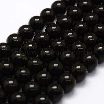 10mm Black Round Obsidian Beads