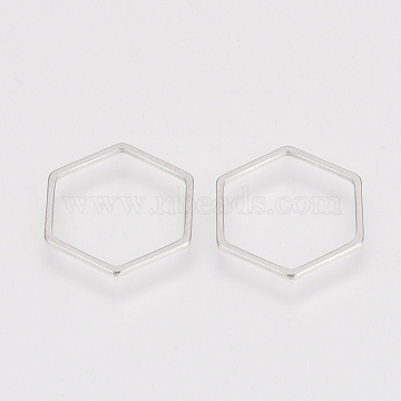 304 Stainless Steel Linking Ring, Hexagon, Stainless Steel Color, 16x18x0.8mm(X-STAS-S079-25A)