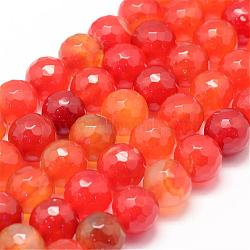 Natural Agate Bead Strands, Round, Faceted, Dyed & Heated, OrangeRed, 10mm, Hole: 1mm; about 37~38pcs/strand, 14.5inches