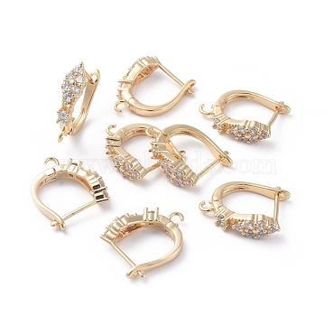 Accessoires de boucle d'oreilles en laiton, avec boucle et zircone cubique transparente, Plaqué longue durée, véritable plaqué or, 18x13.5x4mm, trou: 1.5 mm; broches: 0.8 mm(ZIRC-L077-032G)
