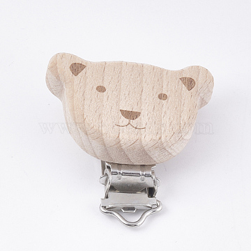 Beech Wood Baby Pacifier Holder Clips, with Iron Clips, Bear, Platinum, BurlyWood, 49x50x18mm, Hole: 3.5x6mm(X-WOOD-T015-20)