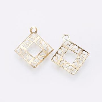 Iron Filigree Pendants, Rhombus, Golden, 15.5x14x0.3mm, Hole: 1.4mm(X-IFIN-F158-50G)