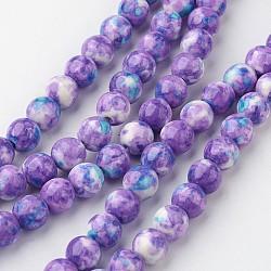 "Chapelets de perle en jade blanc naturel, rond, teint, mediumorchid, 8mm, trou: 1mm; environ 50 pcs/chapelet, 15.7"" (400 mm).(G-G916-8mm-11)"