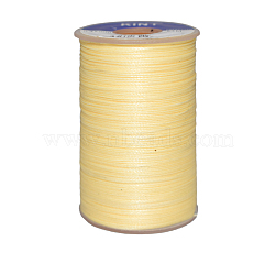 Waxed Polyester Cord, Champagne Yellow, 0.65mm; about 20m/roll(YC-E006-0.65mm-A03)