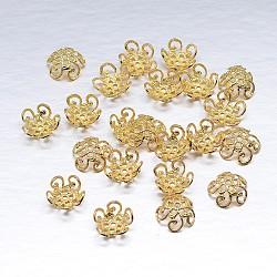 véritables 18 k plaqués or 5 - chapeaux de perles en argent sterling à pétales, fleur, or, 10x4 mm, trou: 1 mm; environ 64 pcs / 20 g(STER-M100-01)