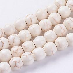 """Chapelets de perles en turquoise synthétique, rond, teints et chauffée, blanc antique, 8mm, trou: 1mm; environ 51 pcs/chapelet, 15.55"""" (39.5 cm)(G-E456-45B-8mm)"""