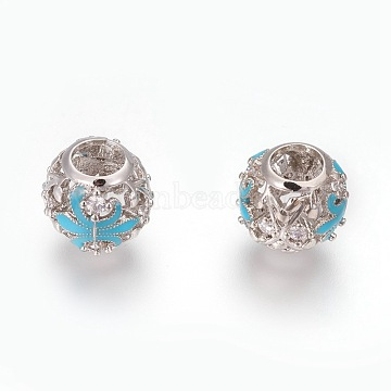 Brass European Beads, Large Hole Beads, with Micro Pave Cubic Zirconia and Enamel, Rondelle with Fleur-de-lis, Platinum, Sky Blue, 11x10mm, Hole: 5mm(KK-O120-14P)