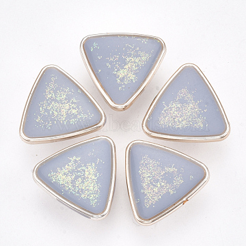 CCB Plastic Shank Buttons, with Enamel and Glitter Powder, Triangle, Rose Gold, Light Steel Blue, 21.5x22.5x10.5mm, Hole: 3mm(BUTT-S024-06A)