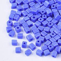 6/0 perles de rocaille en verre, trou rond, cube et cuboïde, bleu royal, 3~7x3.5x3.5mm, trou: 1.2 mm; environ 4500 PCs / sachet (SEED-S026-01A-02)