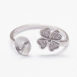 925 Sterling Silver Cuff Finger Ring Components, with Cubic Zirconia, For Half Drilled Beads, Clover, Platinum, Tray: 6mm; 18mm(STER-P030-08P)