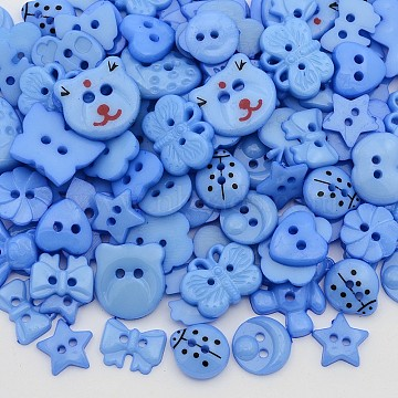 11mm CornflowerBlue Others Acrylic 2-Hole Button