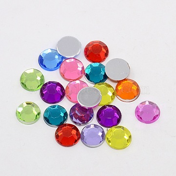 Faceted Half Round/Dome Acrylic Rhinestone Flat Back Cabochons, Mixed Color, 8x2.5mm(GACR-YPO8MM-M)