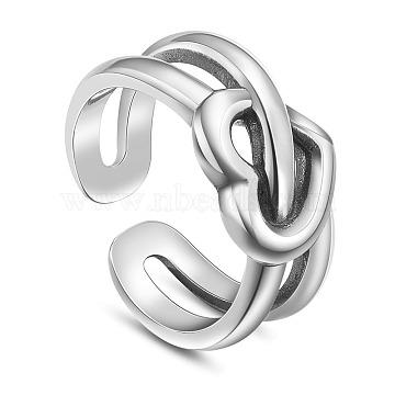 SHEGRACE 925 Thai Sterling Silver Cuff Rings, Open Rings, Heart, Antique Silver, US Size 6(16.5mm)(JR750A)