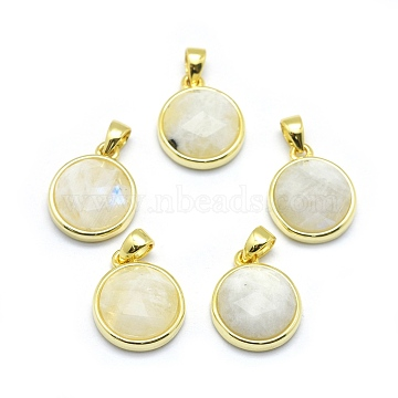 Golden Flat Round Moonstone Charms
