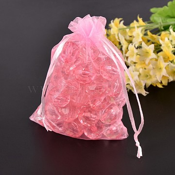 Organza Bags, Mother's Day Bags, Pink, about 7cm wide, 9cm long(X-OP011Y-2)