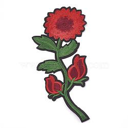 fer à repasser informatisé / coudre des patchs, accessoires de costumes, appliques, fleur, firebrick, 185x80x1.5 mm(AJEW-S069-100)