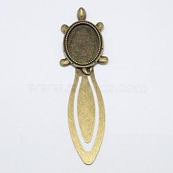 Supports tortue signet cabochon de style tibétain, Sans cadmium & sans nickel & sans plomb, bronze antique, plateau: 25x18 mm; 94x27x3.5 mm(X-TIBE-S156-AB-NR)