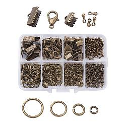 1Box Jewelry Findings 20PCS Alloy Lobster Claw Clasps, 45PCS Iron Ribbon Ends, 40g Brass Jump Rings, 10g Alloy Teardrop End Pieces, Nickel Free, Antique Bronze, Lobster Clasps: 14x8mm, Hole: 1.8mm, Ribbon Ends: 8~13x6~7x5mm, Hole: 2mm, Jump Rings: 4~10mm, End Piece: 7x2.5mm, Hole: 1.5mm(FIND-X0001-AB-NF-B)