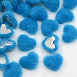 Scrapbook embellissements vêtement accessoires flatback coeur flocky tissu recouvert de tissu cabochons, avec fond en aluminium, de couleur métal platine , bleu foncé, 17x15x6mm(X-WOVE-F010-06)