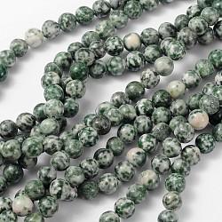 """Perles en pierres gemme, tache verte jasper, rond, environ 8 mm de diamètre, trou: environ 1 mm, Environ 46 pcs/chapelet, 15~16""""(GSR006)"""