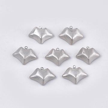 Handmade Porcelain Pendants, with Brass Findings, Lip, Platinum, Silver, 16.5~17.5x22~23x7~8mm, Hole: 1.5mm(PORC-T002-48)