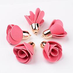 Décorations de pendentif en cuir pu fleur rose, avec accessoires en plastique CCB plaqué or, palevioletred, 45~48x30mm, Trou: 2mm(CCB-L003-03)