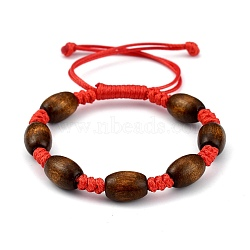 Adjustable Korean Waxed Polyester Cord Kid Braided Beads Bracelets, with Spray Painted Natural Maple Wood Barrel Beads, Red, Inner Diameter: 1-5/8~3-1/8 inches(4.1~8cm)(BJEW-JB05437-02)
