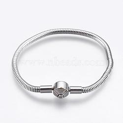 """304 acier inoxydable étoffe bracelet de style européen, avec fermoirs et chaînes serpent rondes, couleur inoxydable, 6-1/4"""" (16cm); 3mm(STAS-I097-002B-P)"""
