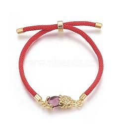 bracelets en corde de coton, bracelets bolo, bracelets de slider, chaînes de boîte, en laiton avec micro pavé de zircone, réel 24 k plaqué or, plaqué longue durée, Pi Xiu, pourpre, 8-5 / 8 (22 cm(BJEW-F360-C01)