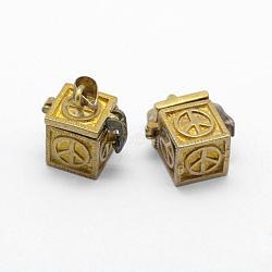 Pendentifs de boîte de prière, sans plomb et sans cadmium et sans nickel, cube avec signe de paix, non plaqué, 18x11.5x17mm, trou: 4x6 mm; intérieure: 8x8 mm(KK-F722-27C-RS)