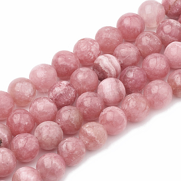 Natural Chalcedony Beads Strands, Imitation Rhodochrosite, Dyed & Heated, Round, 8~9mm, Hole: 1mm; about 45~48pcs/strand, 15.7 inches(G-S333-8mm-007)