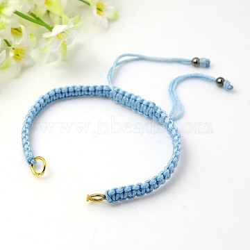 Nylon DIY Bracelet Making, with Hematite Beads and Brass Rings, Golden, Sky Blue, 140~145x4~6mm(X-AJEW-C001-4)