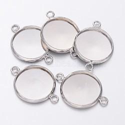 латуни кабошон параметры соединителя, чашки безель с краем, свинца и кадмия и никеля, плоские круглые, платина, лоток: 14x1.5 мм; 21.5x16x2.5 мм, отверстия: 1.5 mm(KK-B537-N)